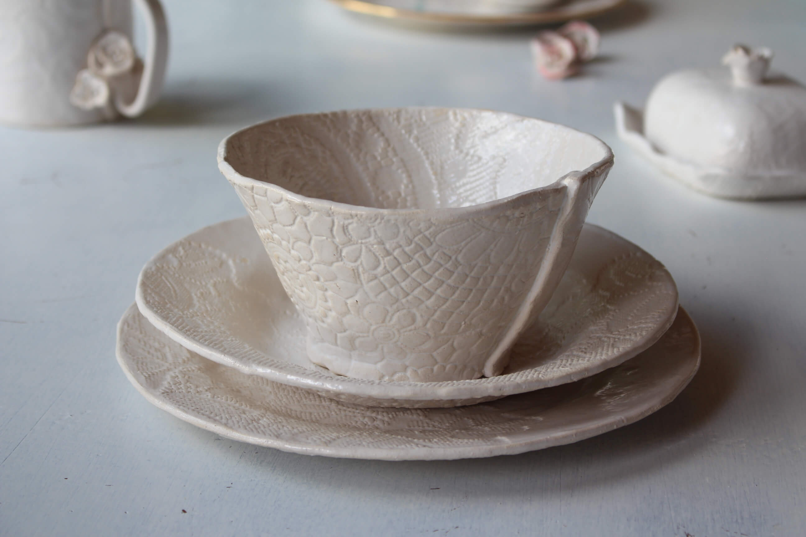 keramikblumen wildrosen 2 st ck keramik shop. Black Bedroom Furniture Sets. Home Design Ideas